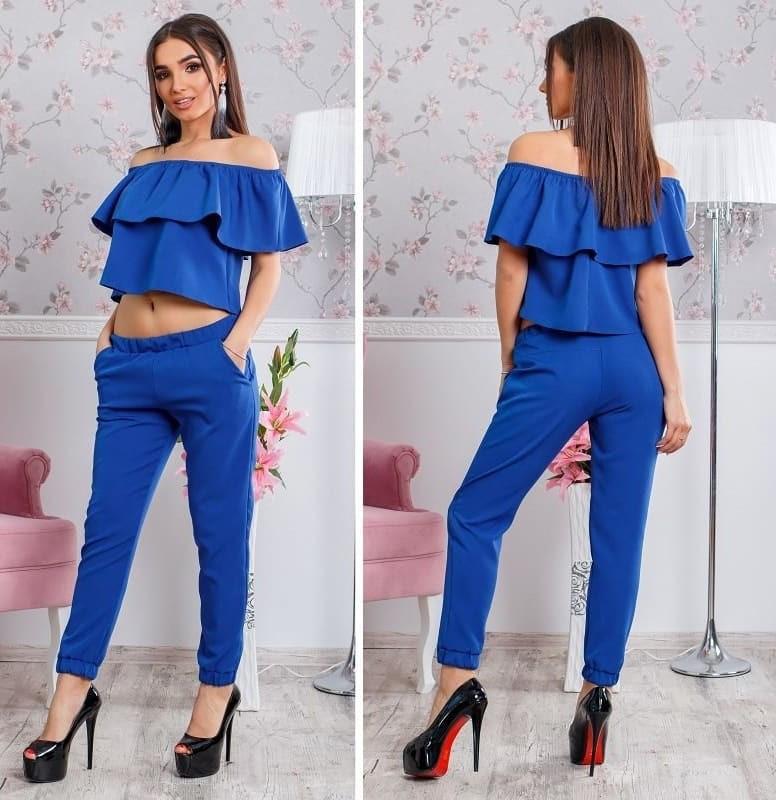 eeafc599e599 Модный женский костюм брюки и топ с воланом, синего цвета : продажа ...