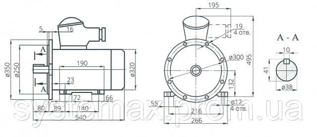 Взрывозащищенный электродвигатель АИМ 132S8 (АИММ 132S8)