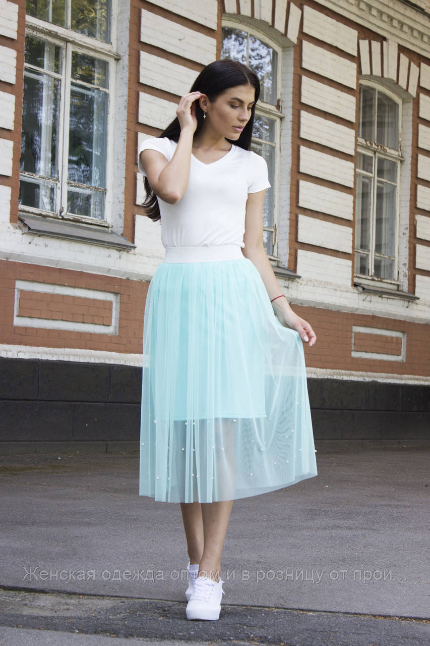 80e22325f65 Фатиновая юбка с жемчугом МЯТНАЯ - Женская одежда оптом и в розницу от  производителя в Хмельницком