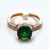 Кольцо 19р. xuping позолота 18К с зеленым цирконием 148367