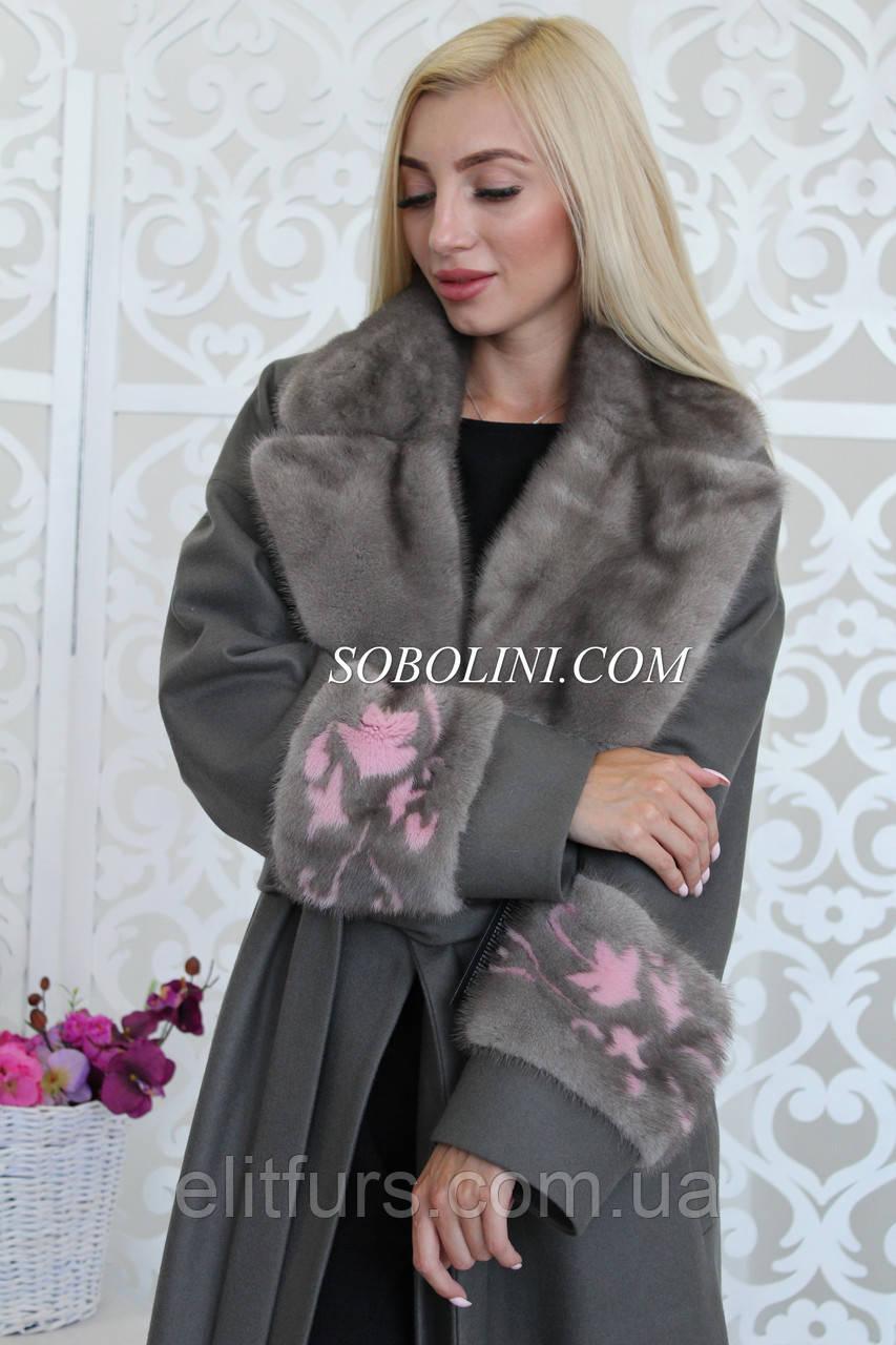 Пальто с мехом норки + инкрустация