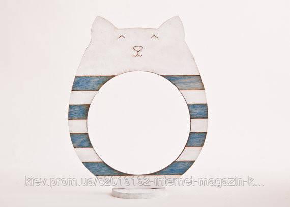 Фоторамки ручной работы кот бело-голубая полоска