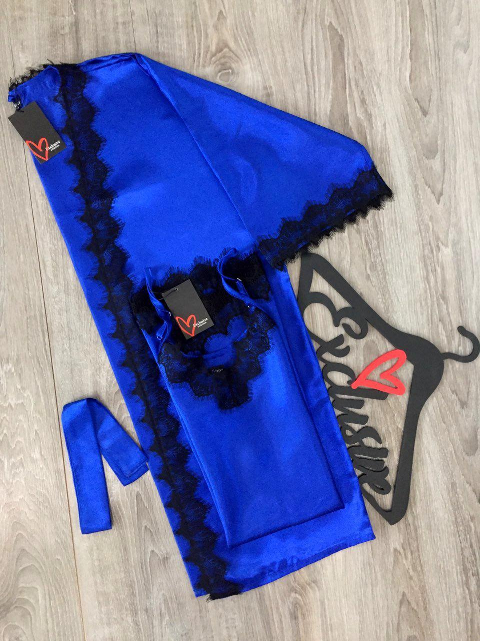 Атласный халат ,комплект с пеньюаром