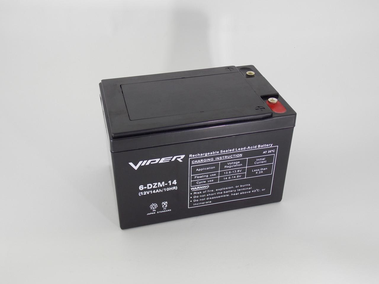 Тяговый свинцово-кислотный аккумулятор 6-DZM-14 на 12v/14Ah необслуживаемый