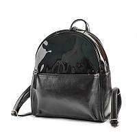Женский черный рюкзак М132-Z/лак городской на молнии с лаковым верхом