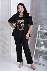 Черные легкие женские брюки больших размеров Прованс, фото 3