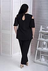 Черные легкие женские брюки больших размеров Прованс, фото 2