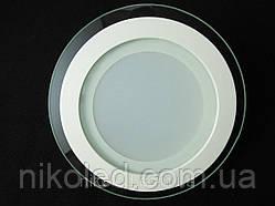 Светильник точечный Стекло LED 12W круг  нейтральный белый