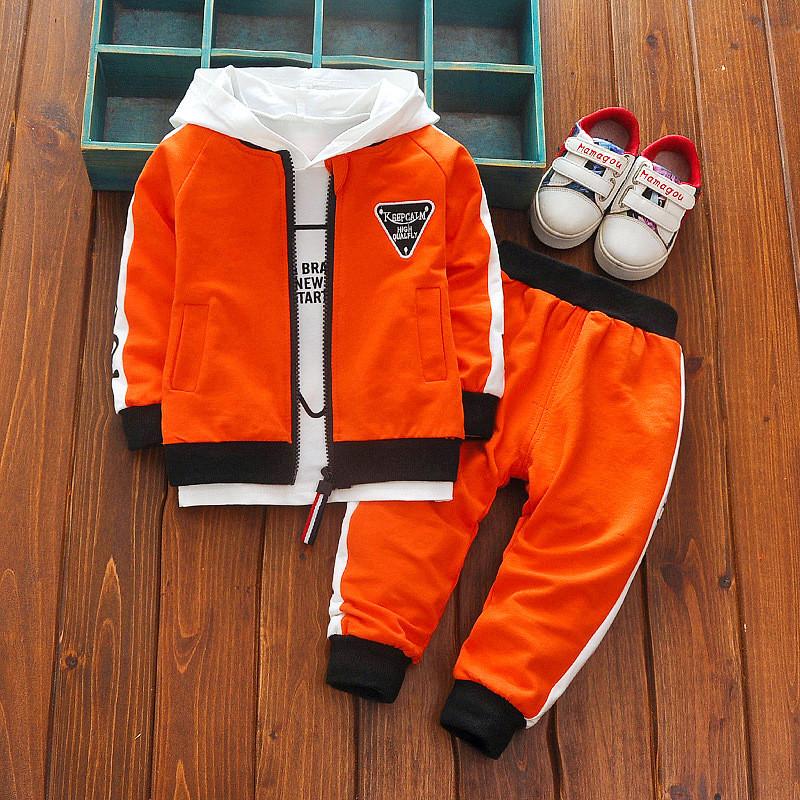 Спортивный костюм тройка с треугольником для мальчика оранжевый