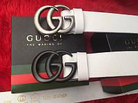 Белый кожаный ремень Gucci