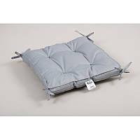 Подушка на стул Lotus 40*40*5 - Optima с завязками серая оптом