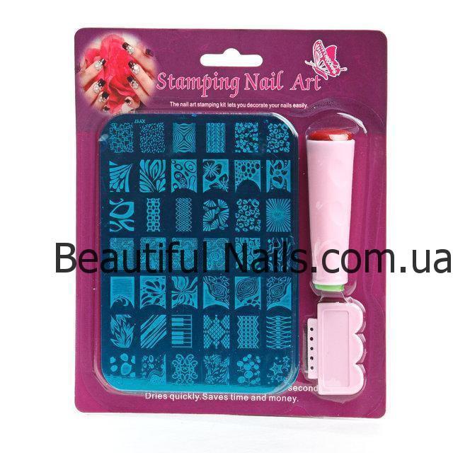 Набор для стемпинга, печатка,штамп на листе двухсторонняя (штамп, скрапер)