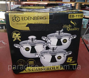Набор 3 кастрюль с крышками EDENBERG EB-1118 (1.9 / 2.7 / 3.6 л) 6 предметов, фото 2