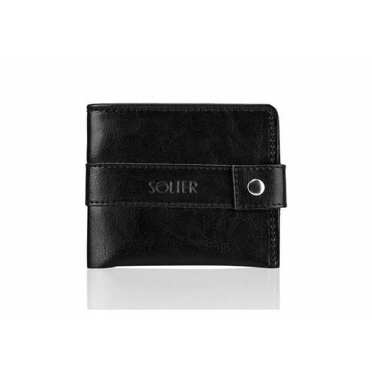 Кожаный кошелек Slim Черный