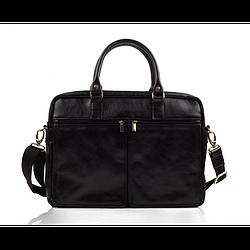 Кожаная сумка на плечо для ноутбука черная Solier SL01