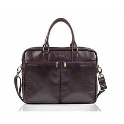 Кожаная сумка на плечо для ноутбука коричневая Solier SL01
