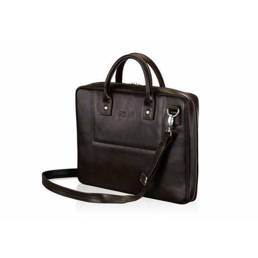 Кожаная сумка для ноутбука коричневая 15.6 BELFAST Solier SL21