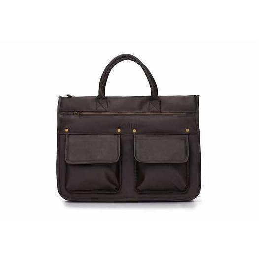 Современный мужской портфель темно коричневый Solier S24