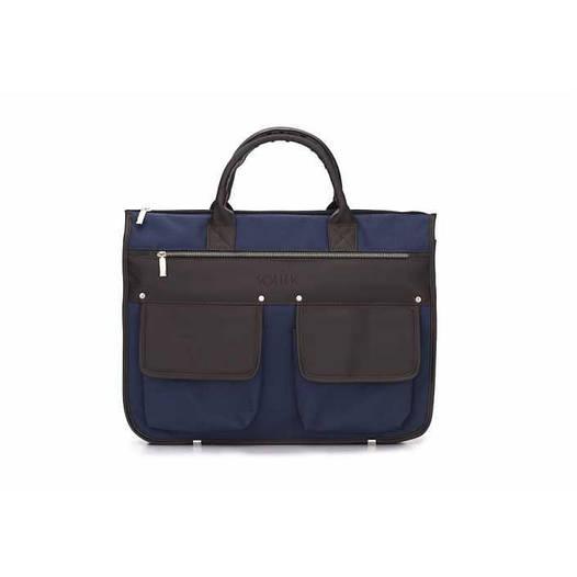 Современный мужской портфель сине коричневый Solier S24