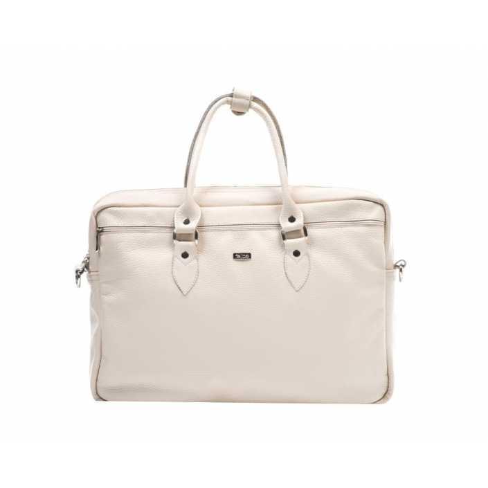 Кожаная женская сумка для ноутбука бежевая Marina