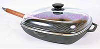 Сковорода гриль со стеклянной крышкой чугунная Биол 26 см 1026с