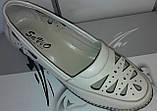 Туфли женские на удобной танкетке из натуральной кожи бежевого цвета от производителя модель СД442-1, фото 3