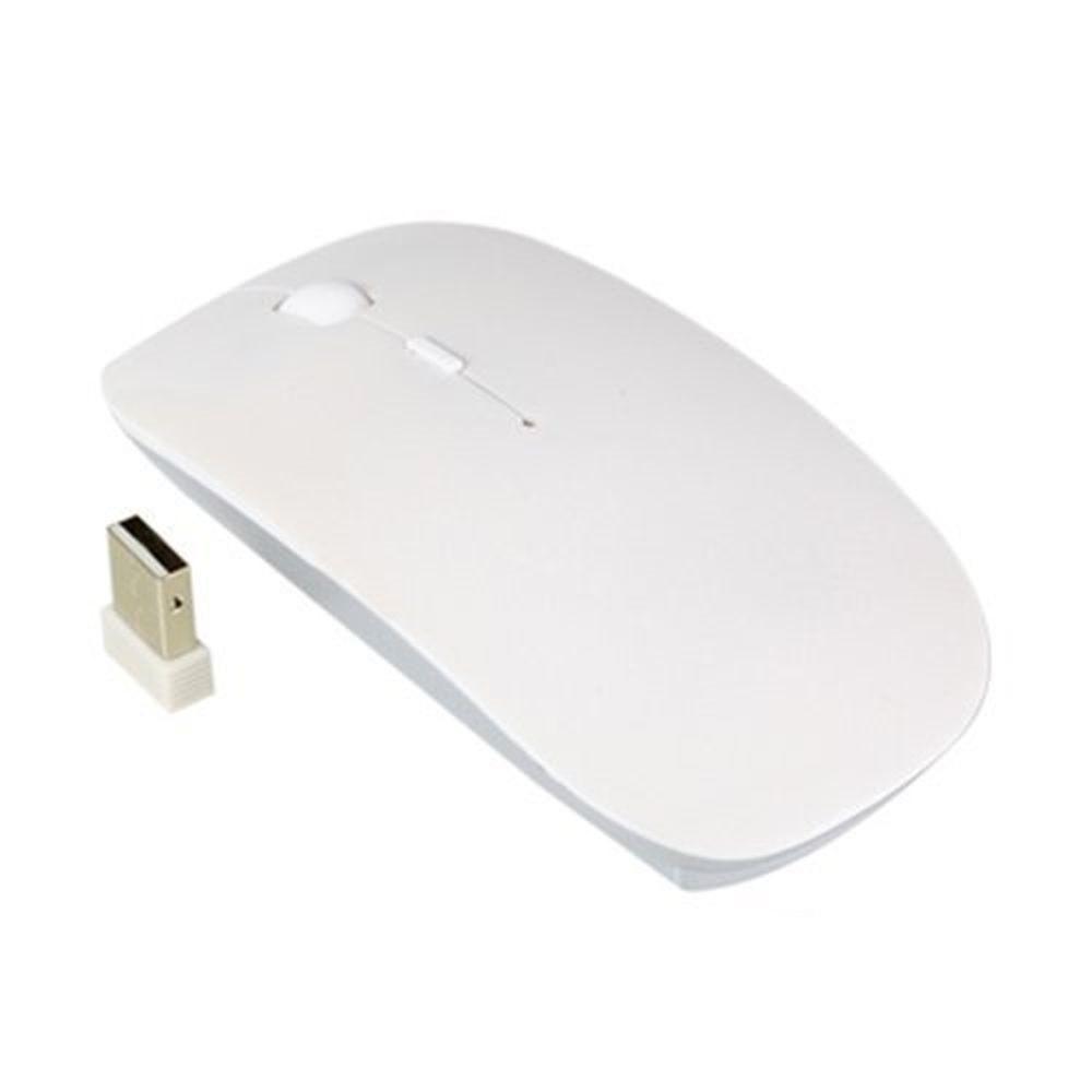 Ультратонкая беспроводная оптическая компьютерная USB-мышка Toto White