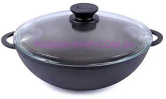 Сковорода WOK чугунная Биол со стеклянной крышкой 3л. 0526с