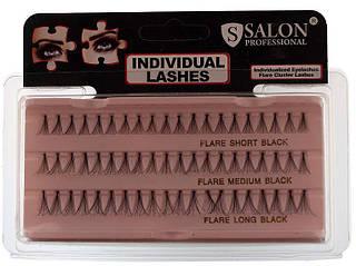 Накладные ресницы Salon Professional Flare MIX Black, разные размеры черные