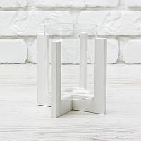 Подсвечник стеклянный на белой деревянной подставке размер 90*118
