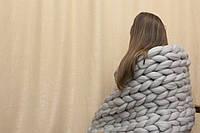 Плед из шерсти (цвет светло-серый) 0,8х1,2 м