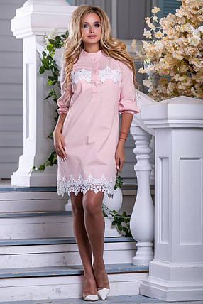 Летнее платье рубашка короткое прямое рукав три четверти на резинке стрейч коттон персиковое, фото 2