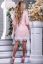 Летнее платье рубашка короткое прямое рукав три четверти на резинке стрейч коттон персиковое, фото 3