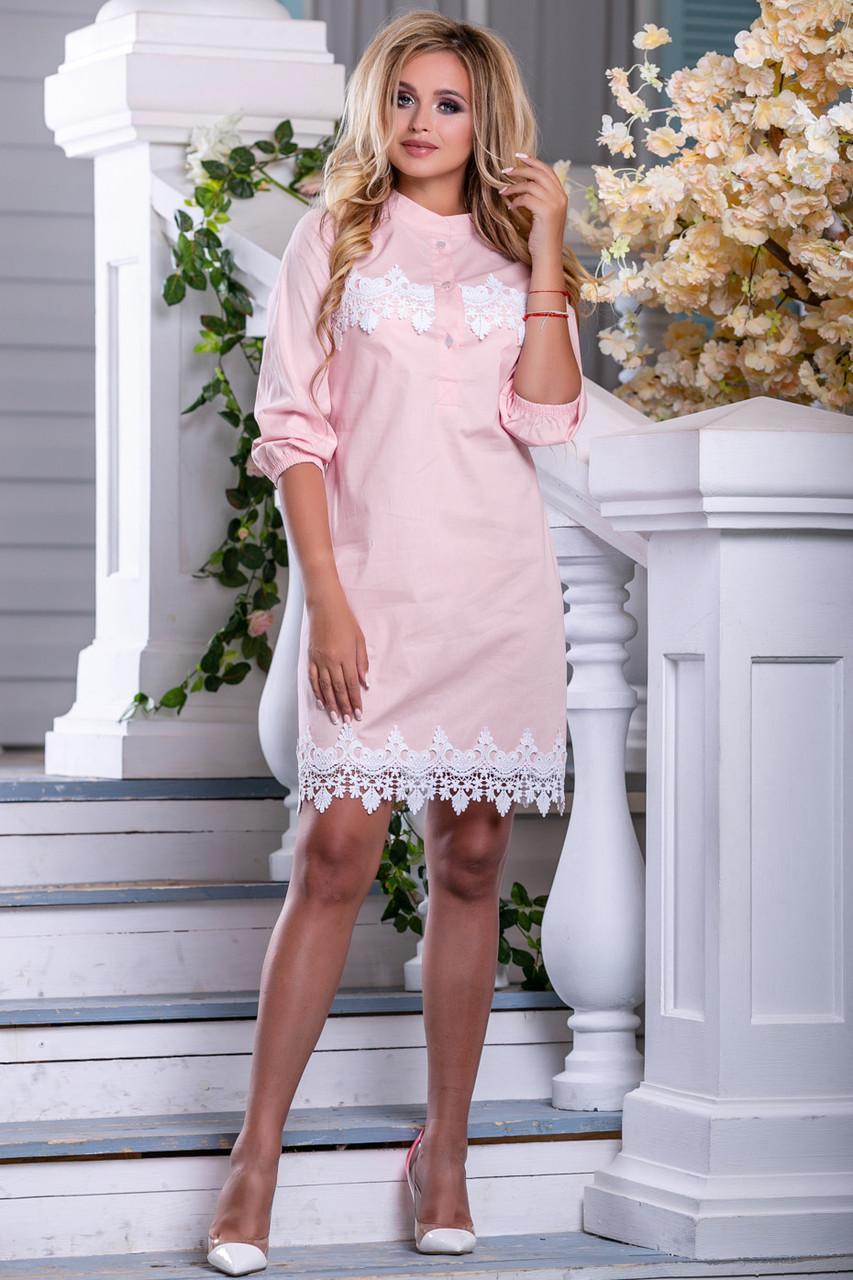 Летнее платье рубашка короткое прямое рукав три четверти на резинке стрейч коттон персиковое