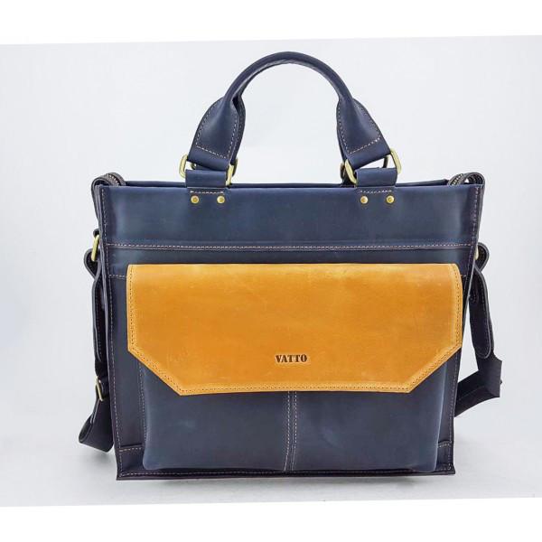 Мужская сумка из натуральной кожи VATTO Mk45.4 Kr600.190, синий с желтым