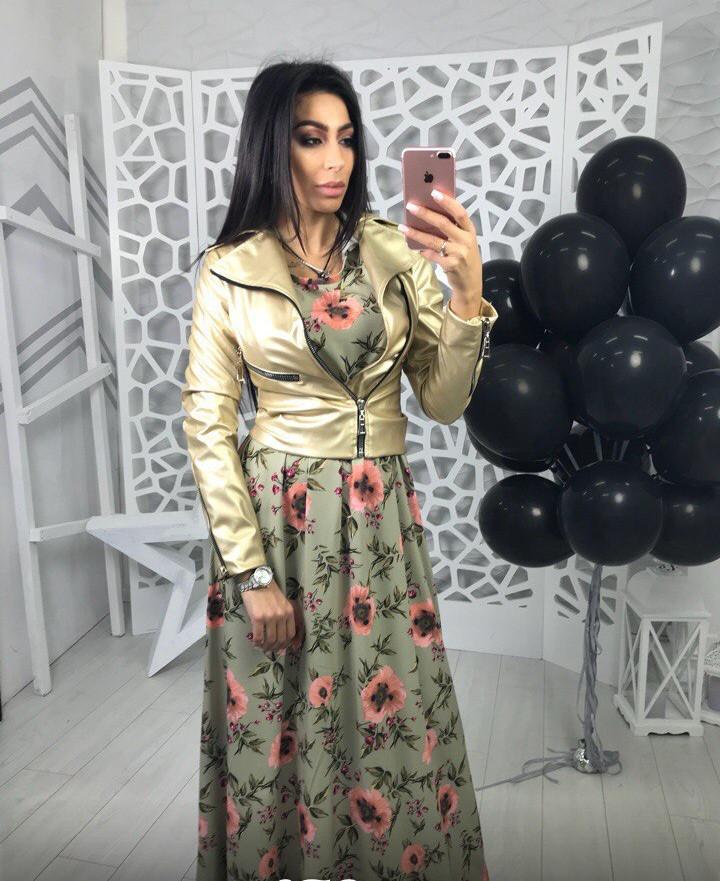 Красивая и модная женская куртка экокожа