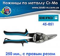 Ножницы по металлу с прямым резом Cr-Mo, 250 мм, BERG , фото 1