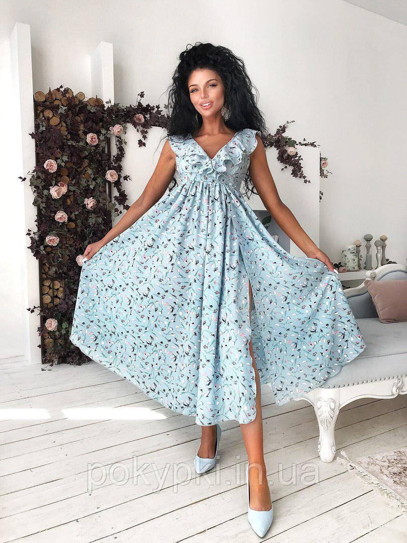 29c4539b9c1483c Качественное летнее платье сарафан с рюшами ка на запах длина миди разрез  от талии голубое цветочный