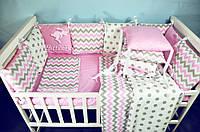Бортики в кроватку+постельный комплект для девочки