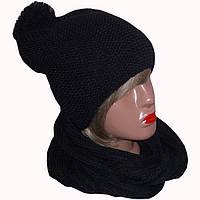 Женская вязаная шапка-носок объемной вязки и шарф-снуд