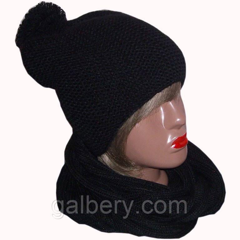 Женская вязаная шапка - носок объемной вязки и шарф - снуд