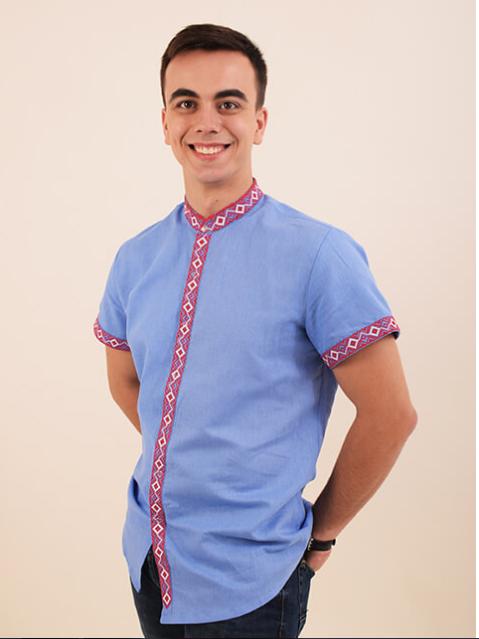 """Рубашка - вышиванка """" Полковник """"(воротник стойка)"""