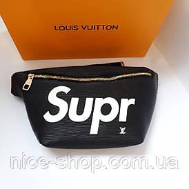 Напоясная сумка-бананка Louis Vuitton Supreme чорна