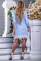Легкое платье мини рукав до локтя прямого кроя с кружевами голубое, фото 3