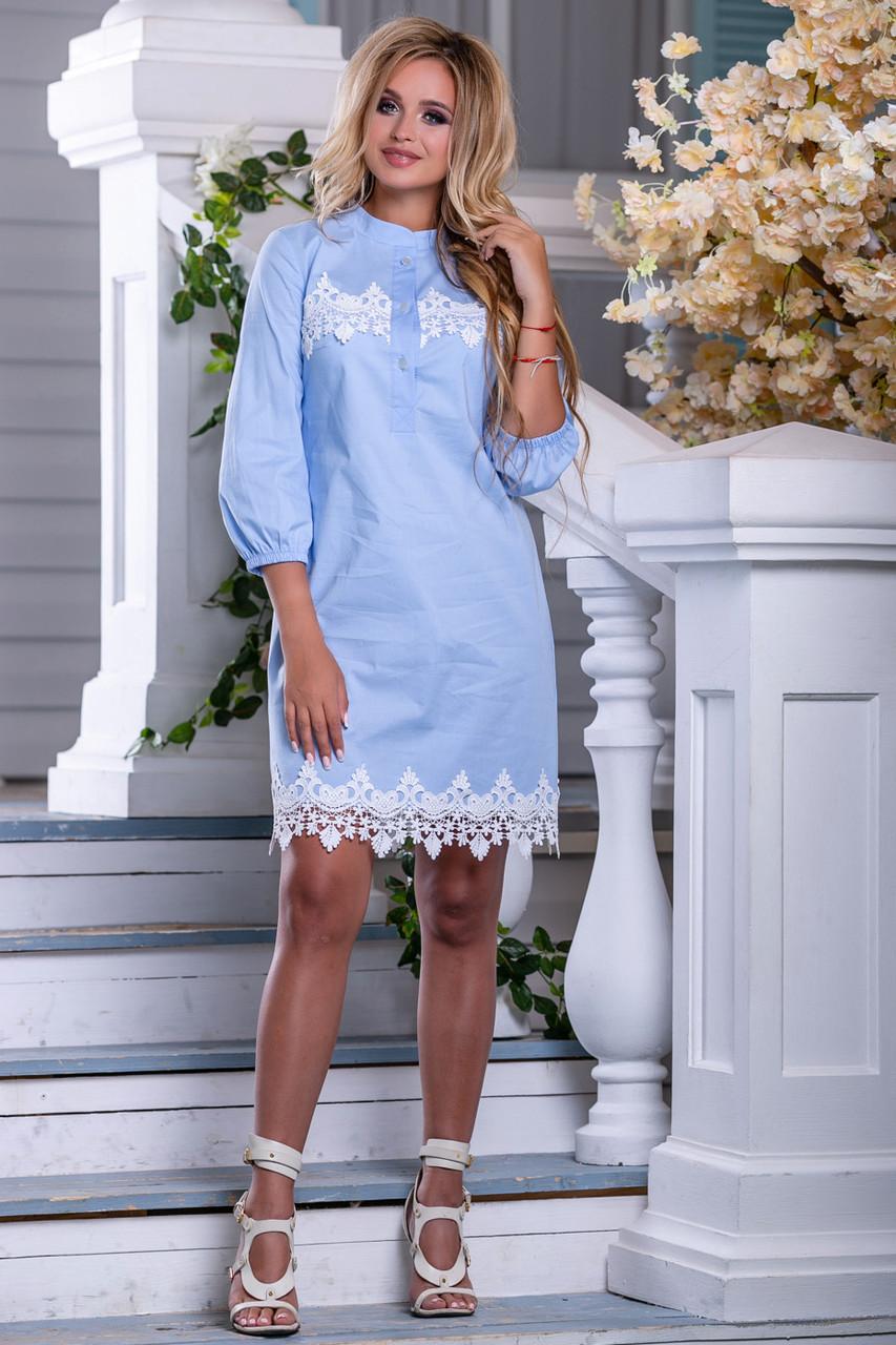 Легкое платье мини рукав до локтя прямого кроя с кружевами голубое