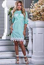 Летнее платье легкое короткое с кружевами прямое воротник стойка мятное, фото 2