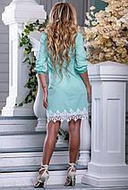 Летнее платье легкое короткое с кружевами прямое воротник стойка мятное, фото 3
