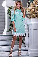 Летнее платье легкое короткое с кружевами прямое воротник стойка мятное