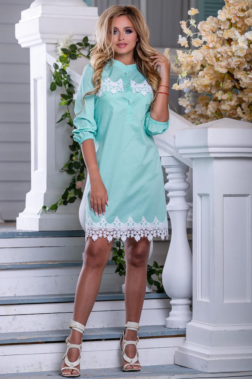 4002ae3709e Летнее платье легкое короткое с кружевами прямое воротник стойка мятное -
