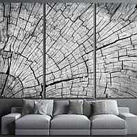 Картина - Трещины древесины в черно - белом, для декора гостиной
